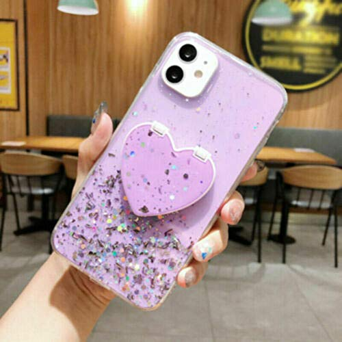 Maquillaje espejo caja de teléfono móvil lujoso bling corazón en forma de espejo de espejo para iphone 12 11 pro max xs xr 7 8 se2-Púrpura_Para iPhone 7/8