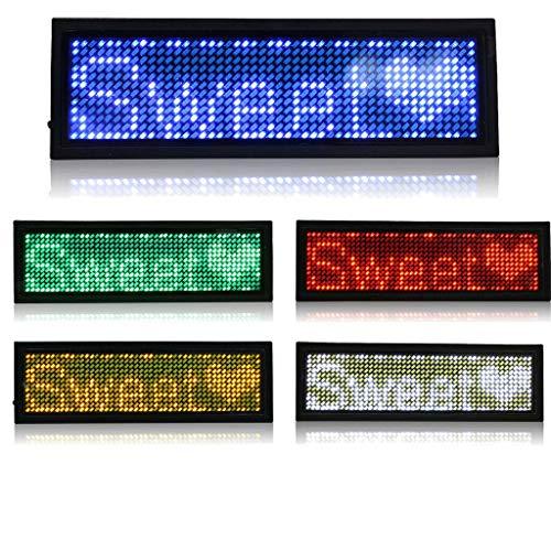 MidoriMori LED Programmierbare Namensschild Digital Scrolling Business Abzeichen Wiederaufladbare Namensschild Karte mit Magnet/Pin für Restaurant Shop Party Bar Ausstellung