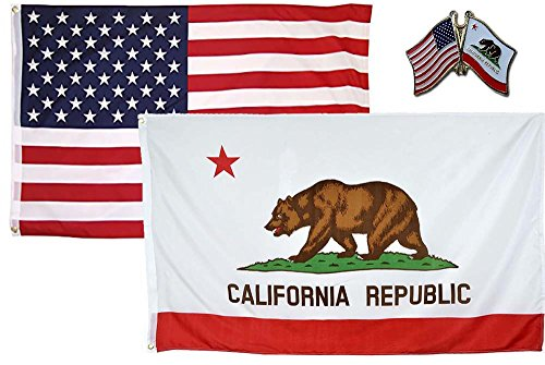 AES Wholesale Combo USA & State of California 3x5 3'x5' Flag & Lapel Pin Fade Resistant Double Stitched Premium Penant House Banner Grommets