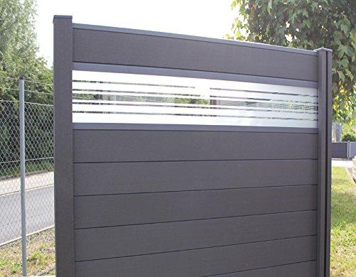 terrasso WPC/BPC Sichtschutzzaun Dark Grey 2 Zäune inkl. 3 Pfosten und Verglasung Sichtschutz Gartenzaun Zaun
