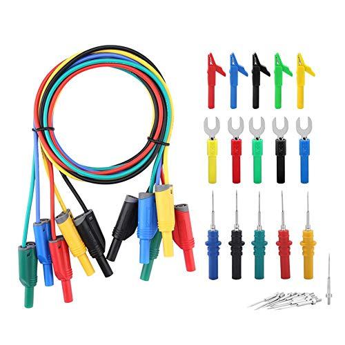 Akozon Elektronisches Messkabel-Kit P1050B Elektronisches Digital-Multimeter Messleitungen mit Krokodilklemmen Austauschbare Messspitzen Set Mehrere Farben Messleitungssätze Multimeter-Kabel