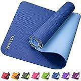 arteesol rutschfeste Yogamatte, Gymnastikmatte, für Damen und Herren, 0,6 cm dick, umweltfreundliches TPE, reißfest, schweißresistent, 183 cm L x 61 cm B, marineblau