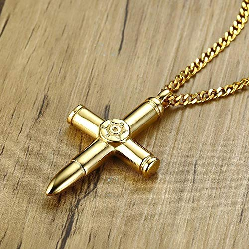 rmdfz Collar de Tarro de cremaciónCollar con Colgante de Cruz para Hombres, Collares Cruzados de Acero Inoxidable para Hombres en Tono Dorado, Amuleto de la Suerte, joyería Masculina con 24 Pulgadas