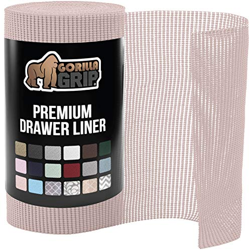 Gorilla Grip Original Drawer and Shelf Liner, Non Adhesive Roll, 17.5 Inch x 20 FT, Durable and Strong, Liners for Drawers, Shelves, Cabinets, Storage, Kitchen and Desks, Light Pink