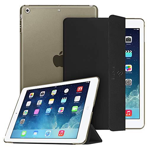 Fintie Hülle für iPad Air 2 (2014 Modell) / iPad Air (2013 Modell) - Ultradünne Superleicht Schutzhülle mit Transparenter Rückseite Abdeckung mit Auto Schlaf/Wach Funktion, Schwarz