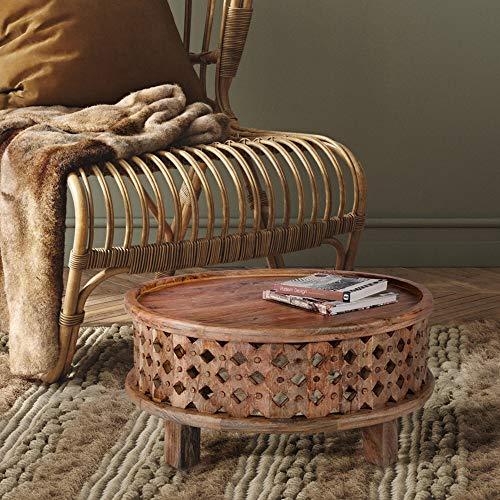 WOMO-DESIGN Orientalischer Couchtisch Bonn Ø75x35 cm rund braun aus Massivholz Mangoholz handgeschnitzt Indische Design Vintage Beistelltisch Wohnzimmertisch Sofatisch Loungetisch Tisch für Wohnzimmer