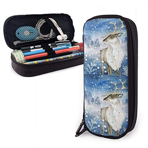 Aquarel Rendier Op Magic Winter Lederen Potlood Case Rits Pen Bag Box Houder Echt Lederen Hoesje