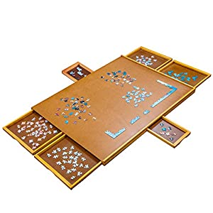 """Jumbl 1500-Piece Puzzle Board   27"""" x 35"""" Wooden Jigsaw Puzzle Table with 6 Removable Storage & Sorting Drawers   Smooth Plateau Fiberboard Work Surface & Reinforced Hardwood   for Games & Puzzles from Jumbl"""