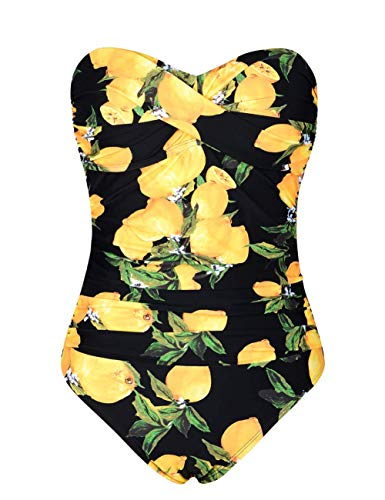 Hilor Women's Bandeau One Piece Swimsuits Front Twist Swimwear Ruched Bathing Suits Tummy Control Lemon 16