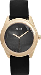 GUESS Factory Womens Black and Gold-Tone Silicone Logo Watch, ...