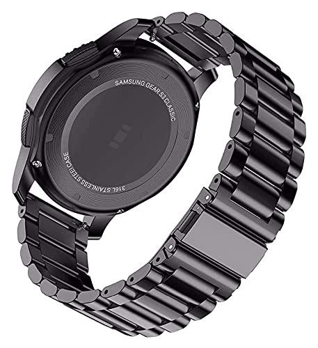 Youdert Reloj Correa 18 mm 22 mm 20 mm de Correa de Banda de 24 mm para Galaxy Watch 42 46mm Gear S3 Active2 Band Brazalete de Acero Inoxidable (Color : Noir, Size : Active 2 40 or 44 mm)