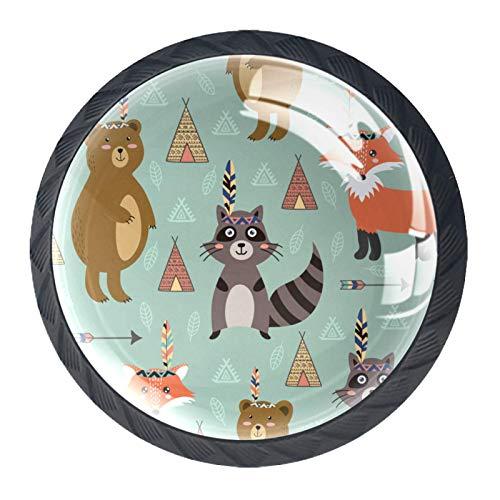 Pomos redondos de puerta, tiradores de puerta de gabinete con tornillos para gabinete, cajones, muebles, cocina, armario, decoración del hogar y flechas étnicas Bosque Animal Raccon Fox