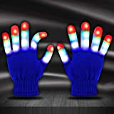 Jofan Light Up Gloves LED Gloves Rave Cool Toys Gifts for Kids Teens Boys Girls Christmas Stocking Stuffers Party Favors (Ages 10-16, Blue)