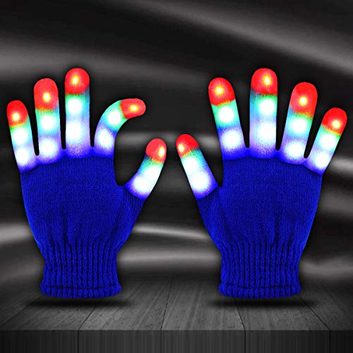 Jofan Light Up Gloves LED Gloves Rave Cool Toys Gifts for Kids Teens Boys Girls Christmas Stocking Stuffers Party Favors (Ages 4-9, Blue)