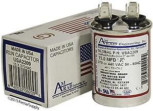 AMRAD ENGINEERING USA2209 Series Round USA-Made Motor Run Capacitor, 15 Mfd, 370/440 Vac-132325