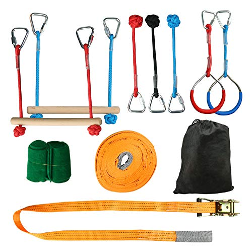 Best Prices! HYDDNice 45FT Portable Slackline Monkey Bar Kit Training Rope Slackline Hanging Obstacle Course Training Equipment Backyard Outdoor Playground Fun
