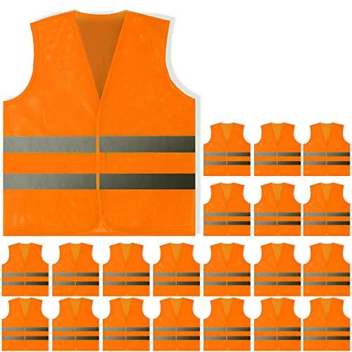 PeerBasics, 20 Pack, Orange Reflective High Visibility Safety Vest, Hi Vis Silver Strip, Men & Women, Work, Cycling, Runner, Surveyor, Volunteer, Crossing Guard, Road, Neon (Mesh, 20)