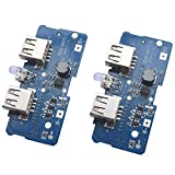 Onyehn 3.7V Turn 5V 2A Boost Step Up Module Dual USB Charging Circuit Board PCB Board with Led Light for 18650 Lithium Battery Mobile Power Bank DIY 2 Pack
