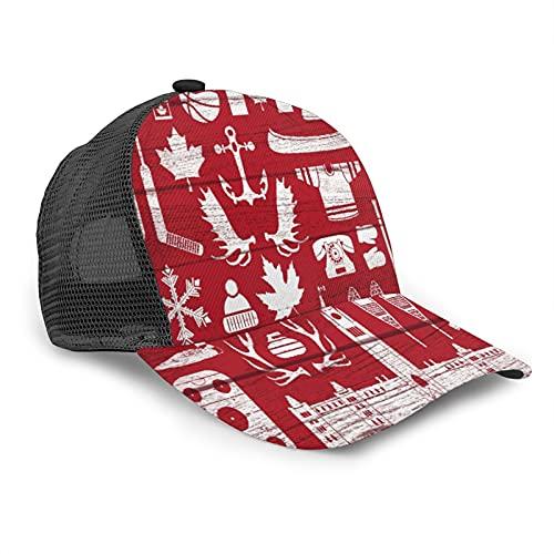 Gorra de Beisbol para Hombres Mujeres Espalda de Malla Snapback,Enorme colección de canadienses estereotipados en Tablero de Granero Este GRU,Sombrero del Camionero Deportes al Aire Libre para Viajar