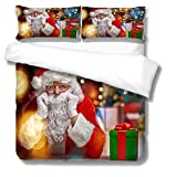 BHFCBD 3 Piezas Juego De Cama Estampado De Santa Claus 1 Funda De Edredón 220X240Cm Y 2 Funda De Almohada 50X75Cm,Funda Nórdica De Edredón Microfibra Estampada,Colcha De Navidad