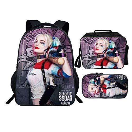 Harley Quinn Rucksack, Harley Quinn Kinderrucksack,Joker Paar, große Kapazität, bequem und langlebig, verstellbar (Quinn2,28 * 14 * 40 cm (16 Zoll))