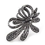 Rhinestone Black Flower Brooches Women Vintage Antique Silver Brooch Pin Elegant Exquisite Broches Black