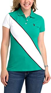 U.S. Polo Assn. Womens Color Block Prep Sash Pique Polo Shirt