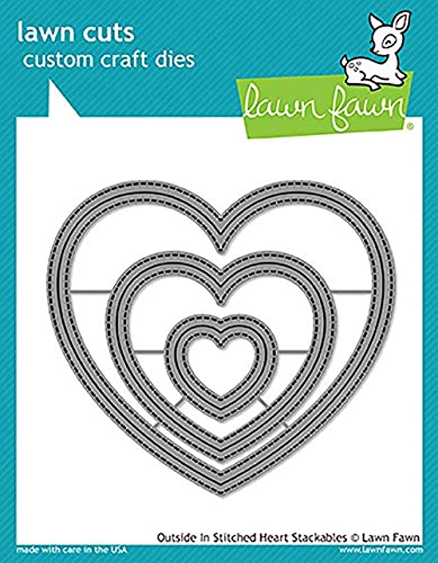 Lawn Fawn Lf1563 Outside In Stitched Heart Stackables Custom Craft Die Set