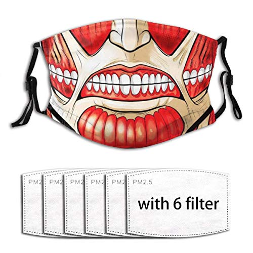 Face Mask Colossal Titan With pcs Pm-. Filters Reusable Washable Fabric -Layer Bandanas Neck Gaiter Scarf Balaclavas Adjustable Earloop For Men Women Kids