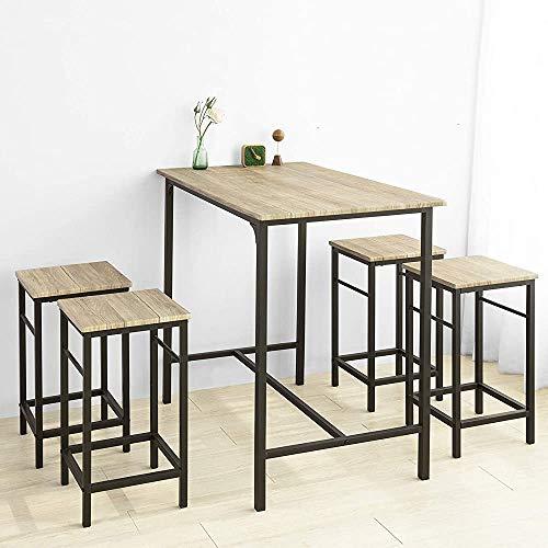 Mesa de comedor, conjunto de 5 piezas de mesa de comedor, con 4 sillas, adecuado para cocinas, restaurantes, bares,Natural color