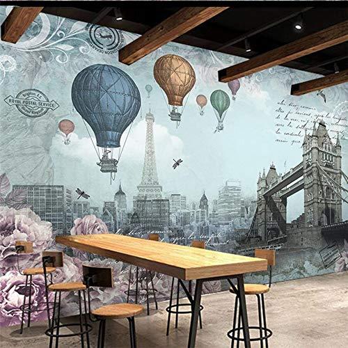 Cucsaist Fondo De Pantalla Mural 3D Vintage Inglés Globo Aerostático Sala De Estudio Dormitorio Sala De Estar TV Fondo Pintura De Pared, 200Cm (W) X 140Cm (H)