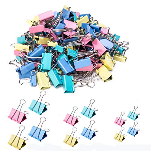 iDream365 Binder Clips - Paper Clamps Assorted 3 Sizes, 4 Colors,Paper Binder Clips, Metal Fold Back Clips for Office, School and Home-148Pcs