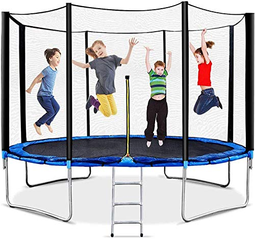12FT 𝕋rampoline with Safety Enclosure Net Sping Pad Combo Bounding Bed, 𝕋rampoline Fitness Equipment for Kids Adults Outdoor - Max Weight Capacity 440LBS (Blue)