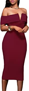 Women's Sexy V Neck Off The Shoulder Evening Bodycon Club Midi Dress