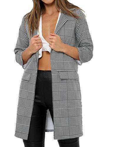 mymixtrendz Women's Check Hounds Monochrome Tooth Tartan 3/4 Sleeve Coat Duster Jacket Blazer 8-20 (XL, Grey)