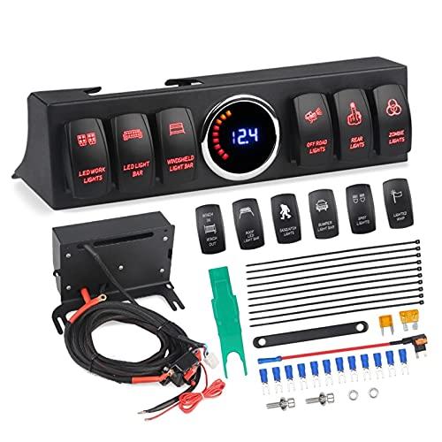 VIKEP 6 Panel de interruptores de balancín Ajuste para Jeep Wrangler JK JKU 2007-2018 Sistema de control de interruptor de interruptor de la barra de la barra de voltaje de la barra de voltaje Pantall