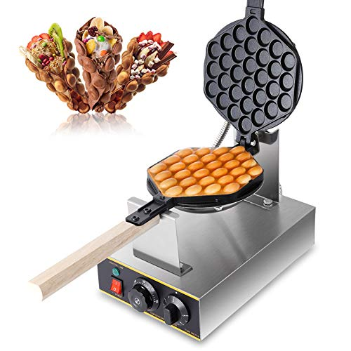 Z ZELUS 1400W Gofrera Electrica de Huevo Gofrera de Huevo Acero Inoxidable Gofrera de Burbujas Giratoria de 180 Grados Antiadherente Bubble Waffle Maker para Uso Doméstico y Comercial