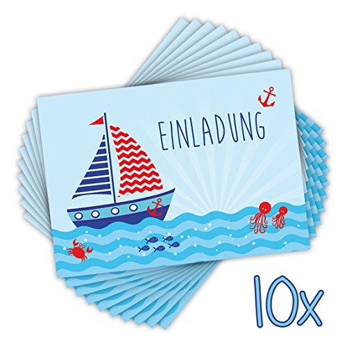 10 EINLADUNGSKARTEN zum Kindergeburtstag SEGELSCHIFF DIN A6 beidseitig bedruckt / maritime Einladungen für Kinder mit Schiff Boot, Einladung für Jungs Sommer