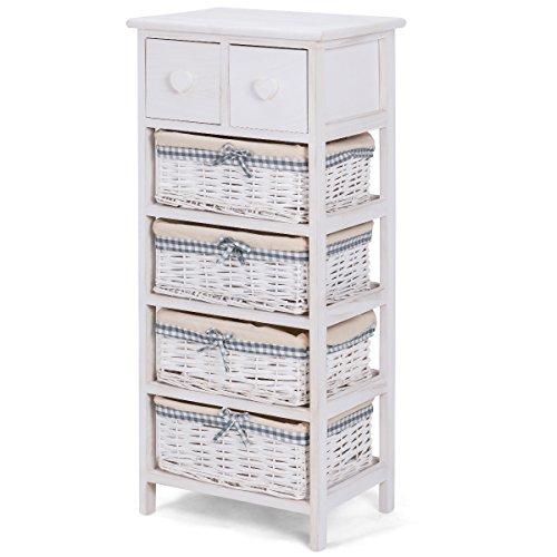 Giantex Nightstand Bedside End Table Organizer W/ 4 Wicker Baskets Chest Cabinet Storage (1)