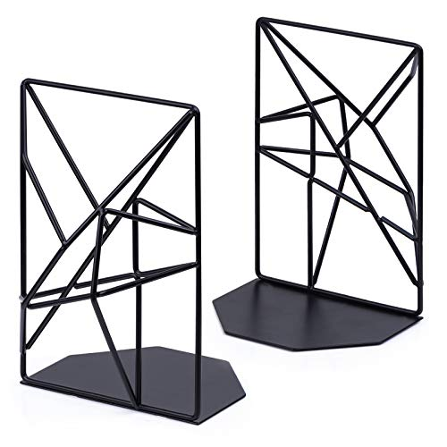Bookends Black, Decorative Metal Book Ends Supports for Shelves, Unique Geometric Design(1 Pair/2 Pieces)