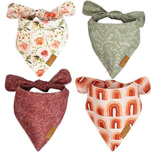 Remy+Roo Dog Bandanas - 4 Pack | Rubi Set | Premium Durable Fabric | Unique Shape | Adjustable Fit | Multiple Sizes Offered | (Large)