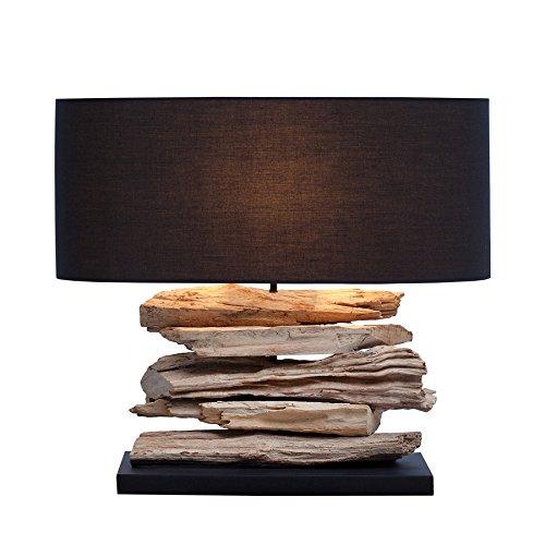 *Design Treibholz Lampe RIVERINE Tischleuchte mit schwarzem Schirm Handarbeit*