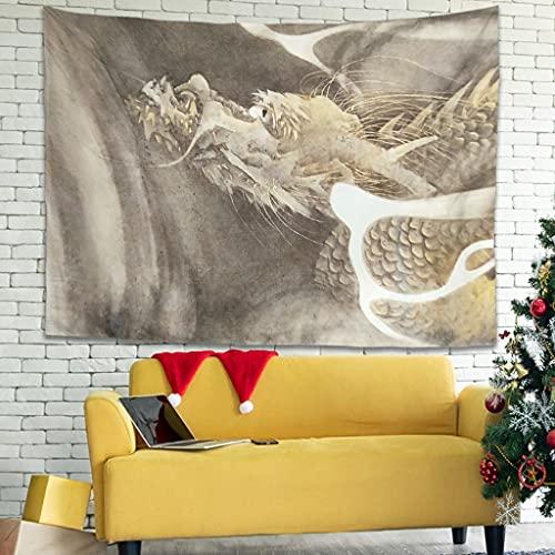 Wandlovers Tapiz de pared vintage japonés, diseño de dragón, nube, arte bohemio, fantasía, arte de pared, decoración de pared para dormitorio, color blanco, 150 x 150 cm