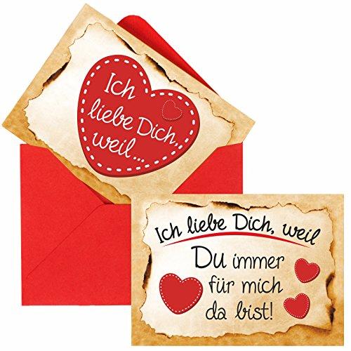 Romantische Liebesbotschaften - Ein süßes Geschenk zum Valentinstag, Geburtstag oder Jahrestag, inkl. roten Umschlägen (24 x ausgefüllt + 3 x Blanko)