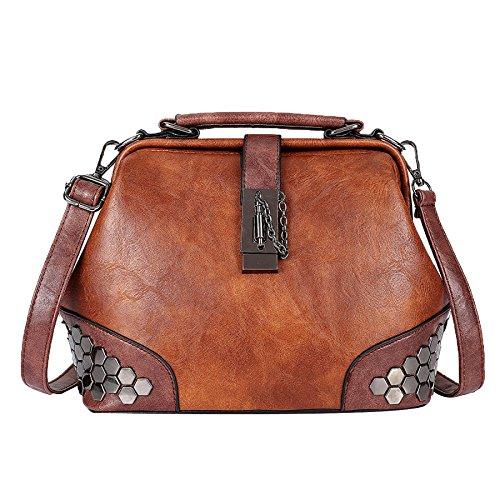 Retro Damen Umhängetasche Lady Niet Handtasche Messenger Bag Arzttasche Top-Griff Tragetaschen Satchel Taschen,Brown-25 * 14 * 20cm