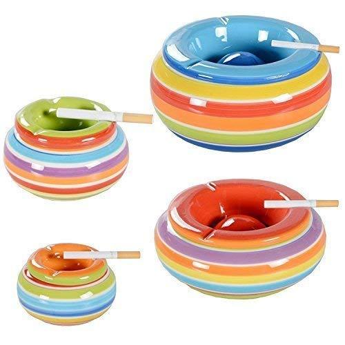 Clic-And-Get Portacenere Posacenere Antivento Ceramica Posacenere Tavolo con Coperchio Colorato Strisce Grande - Arancione