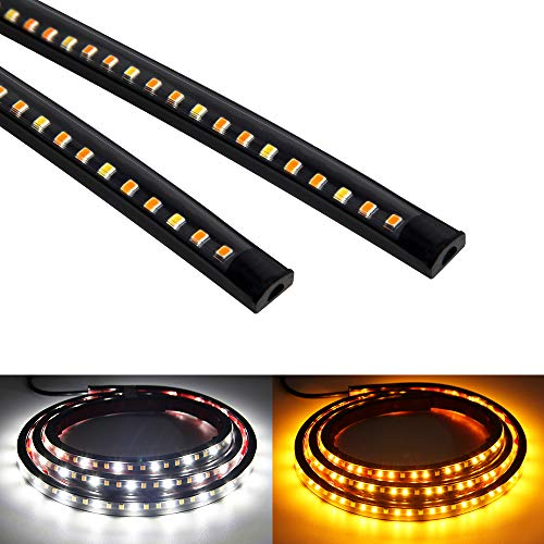 OPL5 2Pcs 70 inch Truck LED Running Board Lights Sequential Amber Side Marker Light Emergency Extended Crew Cab 216 LEDs Waterproof Flexible Turn Signal Light Bar for Pickup Trucks Cars (70 inch)