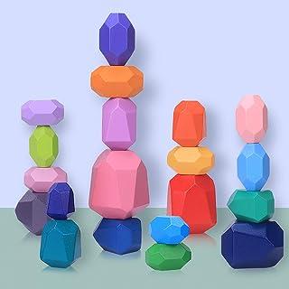 Piedras de Equilibrio en Madera para Niños, 20 Piezas Juguetes de Apilamiento de Piedras de Colores, Bloques de Construcci...