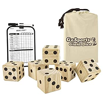 GoSports Giant 3.5 Inch Wooden Playing Dice Set with Bonus Rollzee Scoreboard  Includes 6 Dice Dry-Erase Scoreboard and Canvas Carrying Bag