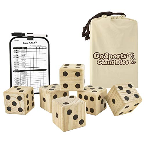 GoSports Giant 3.5 Inch Wooden Playing Dice Set with Bonus Rollzee Scoreboard (Includes 6 Dice, Dry-Erase Scoreboard and Canvas Carrying Bag)